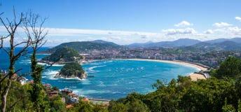 La Concha Beach San Sebastian Fotografering för Bildbyråer