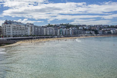 La Concha beach and San Sebastian Cityscape Royalty Free Stock Photography