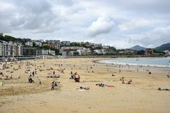 La Concha beach at San Sebastian Pais Basque Spain royalty free stock photo