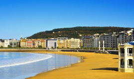 La Concha Beach in San Sebastian, Spain Stock Photos