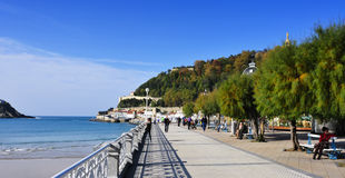 La Concha Beach in San Sebastian, Spain Royalty Free Stock Image