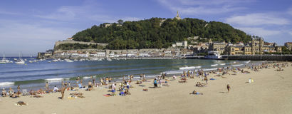 La concha beach in San Sebastian, Spain royalty free stock images