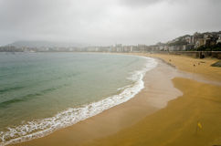 La Concha. Beach in San Sebastian, Spain, on a rainy day Stock Photography