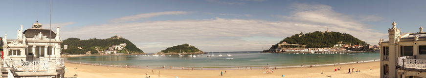 La Concha Beach at San Sebastian, Spain Royalty Free Stock Image