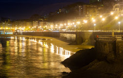La Concha creek in autumn night at Donistia Stock Image
