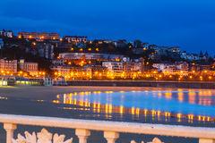 La Concha in  early  morning at San Sebastian Stock Image