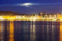 La Concha Embankment  in  autumn night at Donistia Stock Photo