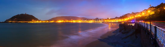La Concha embankment in autumn sunset at San Sebastian Stock Photo