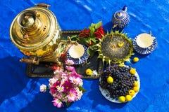 La conclusione dell'estate Samovar, tazze di tè, fiori fotografia stock libera da diritti