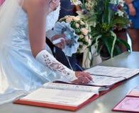 La conclusione dell'unione di cerimonia nuziale Fotografie Stock