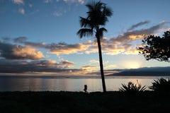 La conclusione di rilassamento del giorno su Maui al bambino tira Fotografia Stock Libera da Diritti