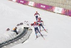 La concorrenza degli uomini di Ski Cross 50km a Soci 2014 Immagini Stock Libere da Diritti
