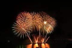 La concorrenza internazionale annuale dei fuochi d'artificio di Pattaya Fotografie Stock Libere da Diritti