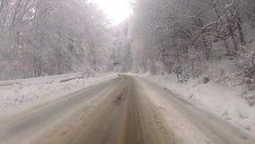 La conducción en la niebla del invierno cubrió la carretera de asfalto de la montaña almacen de video