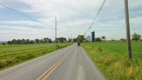 La conducción a lo largo del campo de Amish pareció el caballo 2 y el cochecillo abierto almacen de metraje de vídeo
