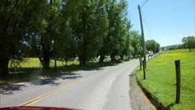 La conducción a lo largo del campo de Amish pareció un caballo y un cochecillo abierto almacen de video
