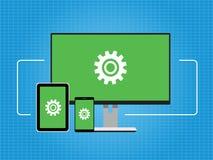 La conectividad conecta el fondo cruzado del concepto del dispositivo de la plataforma stock de ilustración