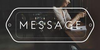 La conexión de la comunicación socializa concepto de los amigos del mensaje fotos de archivo