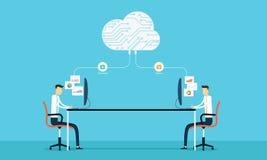La conexión programada desarrolla el siet y el uso del web en la nube Fotos de archivo