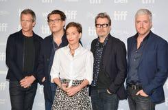 La conférence de presse la plus foncée de ` d'heure de ` avec des acteurs et le festival de film international de Toronto d'équip photographie stock libre de droits