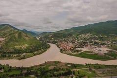 La confluencia de los ríos Kura y Aragvi Imagen de archivo libre de regalías