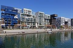 La confluencia del La es el distrito anterior de puertos en Lyon foto de archivo libre de regalías