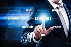 La conformidad gobierna el concepto de regla de la tecnología del negocio de la política de la ley imagen de archivo libre de regalías