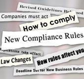 La conformidad pone título a nuevas regulaciones rasgadas periódico del negocio