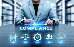 La conformité ordonne le concept réglementaire de technologie d'affaires de politique de loi image stock