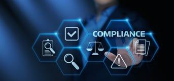 La conformité ordonne le concept réglementaire de technologie d'affaires de politique de loi illustration de vecteur