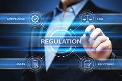 La conformité réglementaire ordonne le concept standard de technologie d'affaires de loi Photos stock