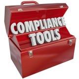 La conformité usine la connaissance de qualifications de boîte à outils après des lois de règles Photo libre de droits