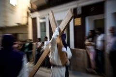La confrérie pontificale et royale de notre Lord Jesus le nazaréen et notre Madame de la pitié à Caceres photo libre de droits