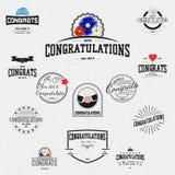 La congratulazione badges le carte e le etichette per c'è ne uso royalty illustrazione gratis