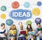 La connaissance d'échange d'idées créative imaginent pour penser le concept Image stock