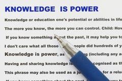 La connaissance est abrégé sur puissance Image libre de droits