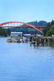 La Conner Bridge. View of a boat dock, boats, bridge and La Conner waterfront under blue skies Stock Photography