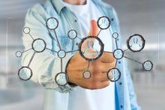 La connessione di rete con la gente si è collegata nella tecnologia w Fotografia Stock Libera da Diritti