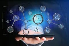 La connessione di rete con la gente si è collegata nella tecnologia w Immagine Stock