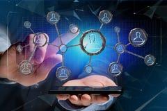La connessione di rete con la gente si è collegata nella tecnologia w Immagini Stock Libere da Diritti