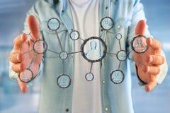 La connessione di rete con la gente si è collegata nella tecnologia w Immagine Stock Libera da Diritti