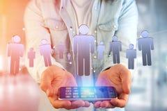La connessione di rete con la gente si è collegata - rappresentazione 3D Immagine Stock