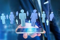 La connessione di rete con la gente si è collegata - rappresentazione 3D Fotografia Stock Libera da Diritti
