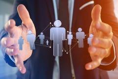 La connessione di rete con la gente si è collegata - rappresentazione 3D Fotografia Stock