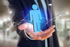 La connessione di rete con la gente si è collegata - rappresentazione 3D Immagini Stock Libere da Diritti