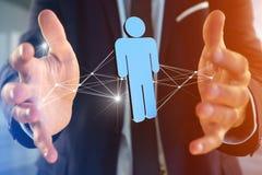 La connessione di rete con la gente si è collegata - rappresentazione 3D Immagine Stock Libera da Diritti