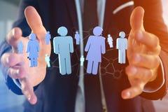 La connessione di rete con la gente si è collegata - rappresentazione 3D Fotografie Stock Libere da Diritti