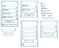 La connessione disegnata a mano del membro del cliente firma sulla forma Fotografia Stock