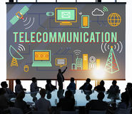 La connexion de télécommunication lie le concept de mise en réseau photo libre de droits