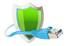 La connexion internet se protègent, concep de réseau de communication protégée illustration de vecteur
